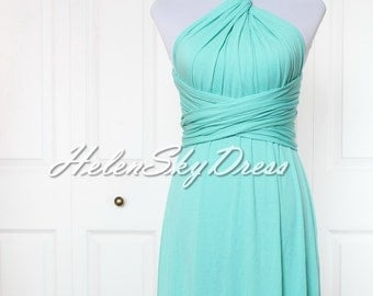Bridesmaid Dress Infinity Dress short Convertible Dress Knee Length in Turquoise green