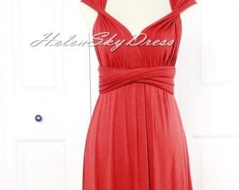 Convertible Infinity dress Knee length short Bridesmaids Dress in Red