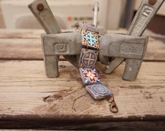 Medieval bracelet, Medieval tiles bracelet, Red white and blue, Links bracelet, Blue bracelet, Medieval jewelry, Antique tiles