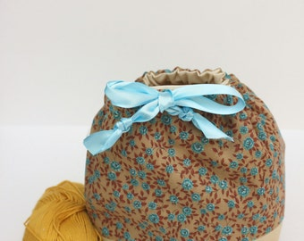 Blue and Brown Floral Drawstring Bag (Sock Sack)