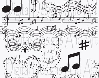 Music clipart, notes clip art, Digital Clipart Musical Accenq,Invitation Clipart Design Elements, Printable Paper Products