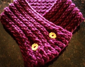 Wool Knit Eggplant Scarfette