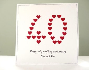 Ruby wedding anniversary card - personalised anniversary cards - 40th anniversary card - personalised greeting cards - pick any number -
