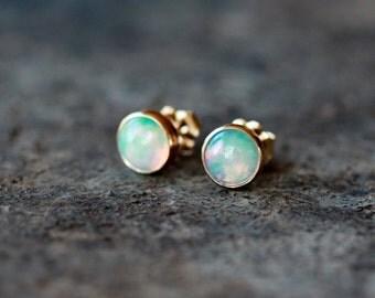 Opal Studs, 14k Gold Opal Earrings, Genuine Opal Gemstone, SOLID Yellow Gold, October Birthstone, Elegant Jewelry, 6mm Gems