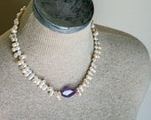 Pearl Amethyst Quartz Statement Necklace with Large Faceted Purple Quartz Double Pearls Valentine Jewelry