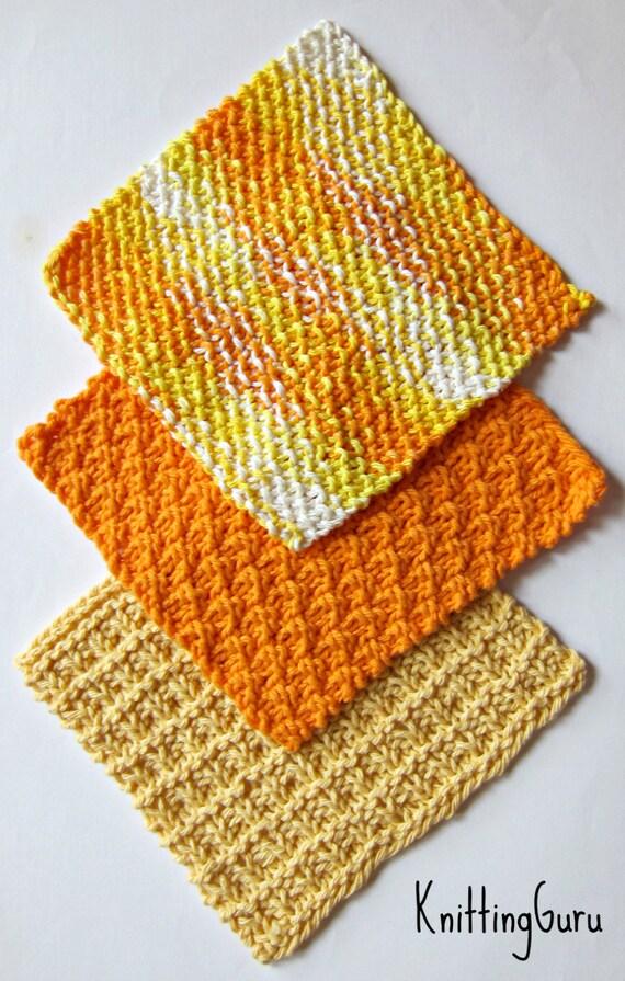 Knitted Dishcloth Pattern Books : 6 Knit Dishcloth Patterns Tutorials - E-book PDF - Fast Easy Ecofriendly DIY ...