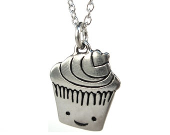 Tiny Cupcake Necklace - Sterling Silver Muffin Pendant