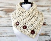 Chunky Scarf Womens Crochet Cowl Wellington Tweed Wheat Cream Scarf - Womens Accessories Fall Fashion Winter Cowl