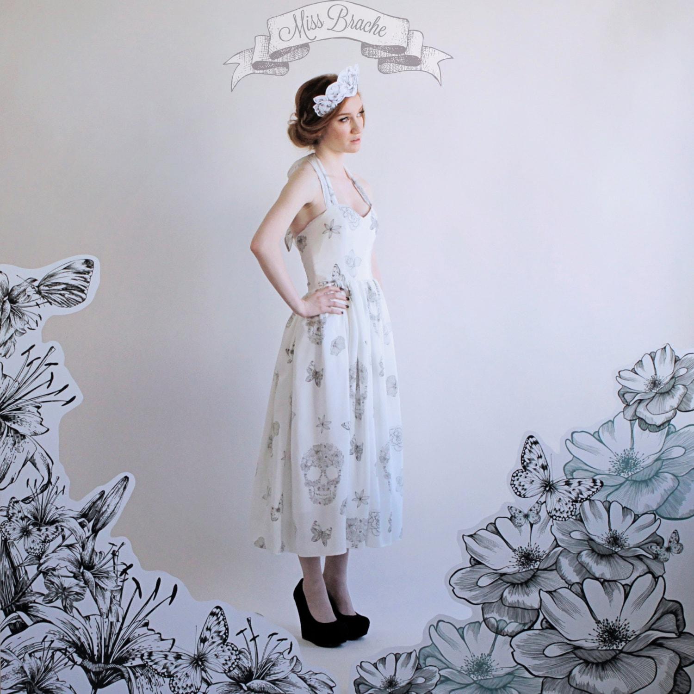 Print wedding dress with sugar skulls flowers and by for Sugar skull wedding dress