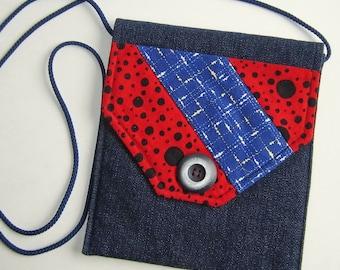Sidepocket Purse, Crossbody Purse, Hip Bag, Shoulder Bag, Cell Phone Purse, patchwork and denim
