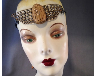 Unusual Egyptian Revival Scarab Gatsby Headpiece, Molded Czech Glass, Riveted Cut Steel