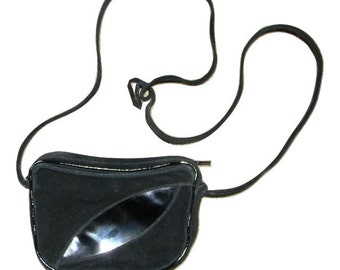 Vintage Enny bag - suede and patent leather - rare style! zippered top and inside pocket, cross body bag