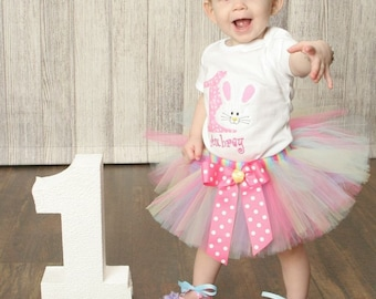 Bunny 1st Birthday Tutu Set, Baby Girl First Birthday Outfit, Birthday Shirt, Smash Cake Outfit, Trendy Baby Girl Clothes