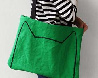 Emerald Green Cat Market Tote Bag, st patricks day gift for cat lover, spring accessory, cat lady, cat man, cat ears screen printed tote bag