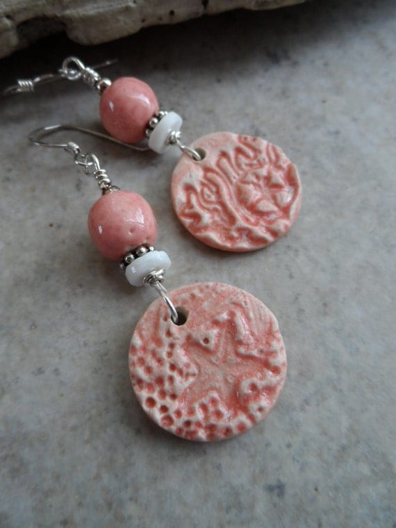 Ocean Treasures ... Asymmetrical Ceramic, Shell and Sterling Silver Earrings