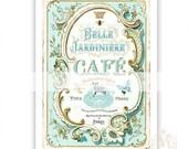 French Cafe, print, kitchen print, vintage style, blue, gold, belle jardiniere, cafe print, tea shop, patisserie, home decor, kitchen decor