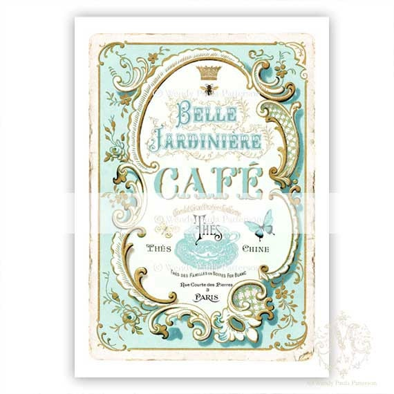 French cafe print kitchen print vintage style by for French kitchen artwork
