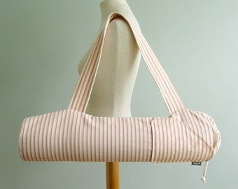 Yoga Gifts for Women. Coral Ticking Striped Yoga Bags. Yoga Mat Tote Bag. Yoga Mat Carrier. Yoga Gear. Yoga Gift for Mom. Unique Yoga Gifts