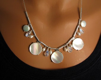 Mother of Pearl, Rainbow Moonstone, and Pearl Statement Necklace in Sterling Silver - White Statement Necklace - Bib Necklace - Spring