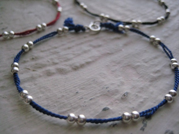 Sterling Silver Amp Silk Friendship Bracelet Bead Cord