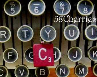 """Mahogany Vintage Scrabble Tile Pendant - """"C"""" - Choose your letter - Eclectic Jewelry - Steampunk Chic - Upcycled"""