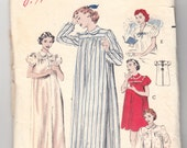 """Vintage Sewing Pattern Misses' Shorty and Nightgown Butterick 6315 32"""" Bust - Free Pattern Grading E-book Included"""