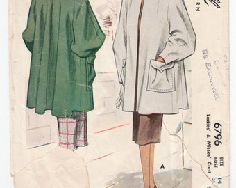 """Vintage Sewing Pattern Ladies' Box Coat 1940's McCall 6796 32"""" Bust- Free Pattern Grading E-book Included"""