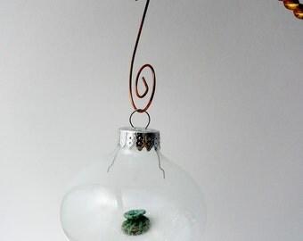 Horsehair Basket Christmas Ornament, Glass Ball,  Green Brown Horsehair, Tiny Basket, Basketmakers gift, MIniature Horse hair Basket
