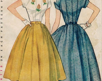 1950s Simplicity 3926 UNCUT Vintage Sewing Pattern Misses Dress Size 14 Bust 32