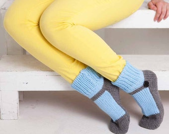 Knit Slipper Sock AdultMary Jane Slippers Sox Light Blue House Slippers Womens Slippers Home Slippers Gray House Shoes Grey Home Shoes