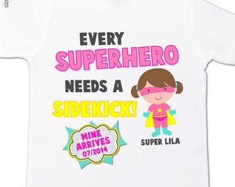 Superhero big sister shirt  big sister to be comic every superhero needs a sidekick pregnancy announcement