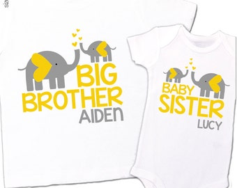Big brother baby sister shirts MOD elephant matching sibling Tshirt and bodysuit set - can be made for any brother sister combination