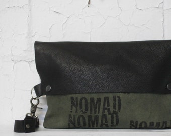 073 Wristlet Clutch Bag , Black Leather, Canvas Pouch , Purse , Made in Brooklyn