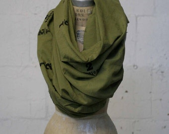 Green Scarf Screen Printed, Fashion Accessories, Large Scarves