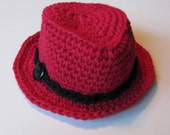 "Newborn Fedora Hat, Red Newborn Hat with Black Band and  Button, Crochet Baby Hat, Newborn Photo Prop, Newborn Photography, ""Little Man"""