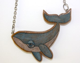 Whale Necklace Pendant - Illustrated Wood Handcrafted - Limited Edition