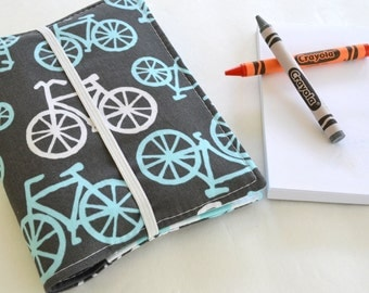 Bicycle Crayon Notebook . Crayon Wallet . 8 Crayons and Notepad Included . Birthday Party Favor . Birthday Gift for Boys