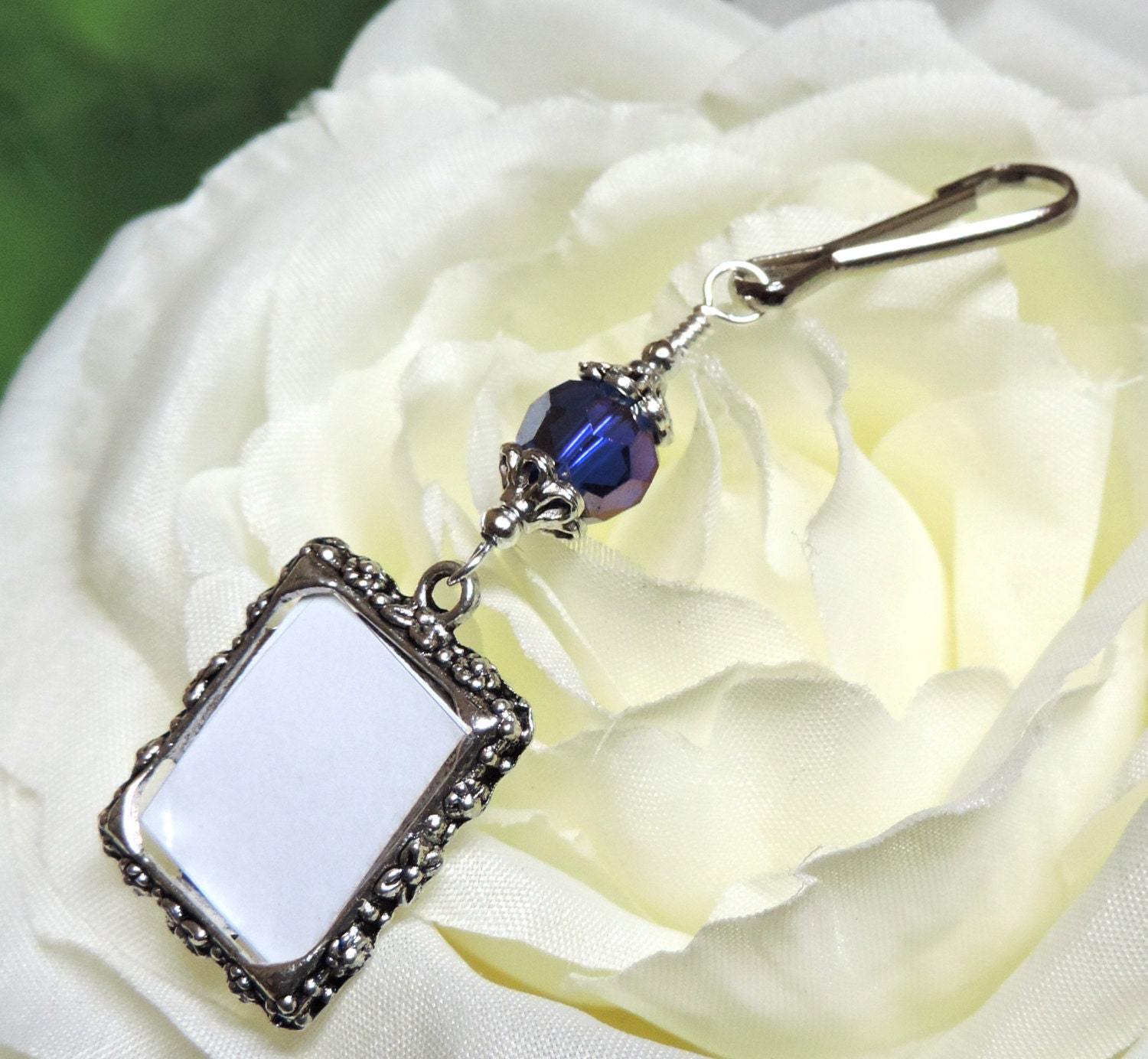 wedding bouquet photo charm royal blue memorial by smilingbluedog