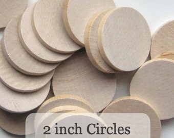 Unfinished Wooden Circles 2 inch, Pack of 50