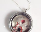 """Love My Dog Stainless Steel Living Locket - 30mm with 22"""" Silver Plated Snake Chain, Dog Themed Charms, Crystal Heart, Paw Print Packaging"""