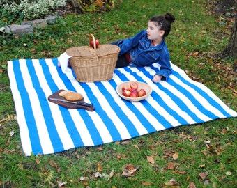 Picnic Blanket- Nautical Blue Stripes- Beach Blanket- Personalized Blanket - Waterproof