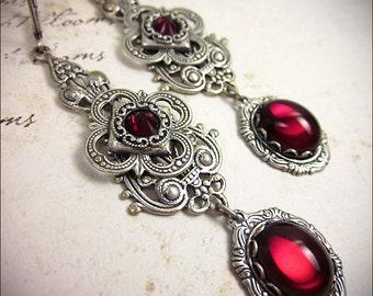 Medieval Earrings, Garnet, Red, Victorian Earrings, Bridal, Renaissance Earrings, Medieval, Tudor, Renaissance Jewelry, Avalon