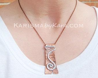 Copper. Silver. Hand Cut. Spiral. Pendant. Necklace.