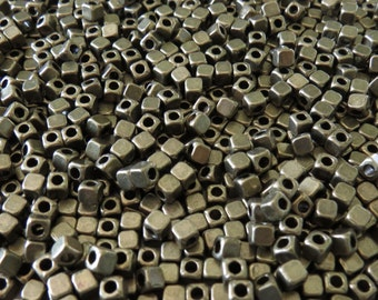 4mm Antique Brass Alloy Metal Cornerless Cube Spacer Beads - Qty 50 (G160) SE