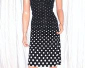 Vintage Black White Polka Dot Halter Dress S