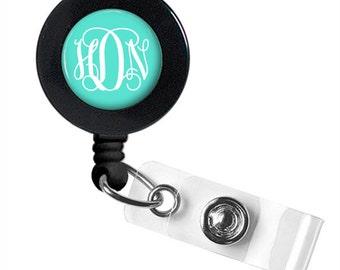 Monogram Badge Reel, ID Badge,  Retractable Badge Reel, Personalized Badge Reel (382)