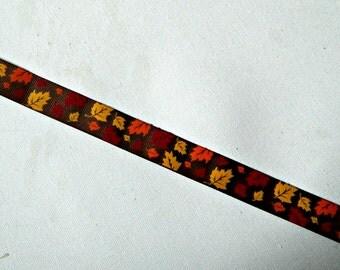Autumn Fall leaves printed grosgrain ribbon, orange, maroon, & yellow gold falling leaves on 7/8 inch brown ribbon seasonal  craft supply
