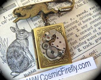 Rabbit Pin Steampunk Pin SUPER SALE Brass Rabbit Brooch Steampunk Brooch Bunny Rabbit Locket Easter Brooch Gold Book Locket Mixed Metals