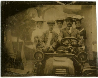 Family in Automobile - Country Road/Landscape - Painted Backdrop - Arcade Tintype