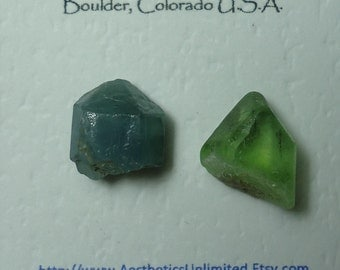 Sale FLUORAPATITE PERIDOT 2 Natural Terminated Blue And Green Crystals